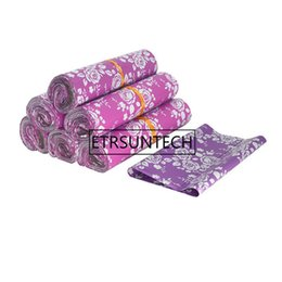 ExprEss packagEs online shopping - 500pcs Purple Pink Rose pattern Plastic Post Mail Bags Poly Mailer Self Sealing Mailer Packaging Envelope Courier express bag