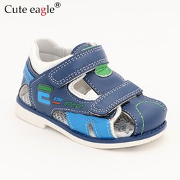 $enCountryForm.capitalKeyWord Australia - Cute Eagle Summer Boys Orthopedic Sandals Pu Leather Toddler Kids Shoes For Boys Closed Toe Baby Flat Shoes Size 22-27 No.a192 MX190727