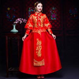 $enCountryForm.capitalKeyWord Australia - Chinese Traditional Wedding Dress Oriental Asian Bride Beauty Women Red Embroidery Dragon&phoenix Cheongsam Robe Qipao Style