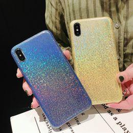 Glitter For Glasses Australia - Luxury Designer Hologram Glitter Glass Case for IPhone X XS MAX XR 8 7 Plus 6 S 6s Plus I Phone 7plus Rainbow Phone Holo Cover 200pcs