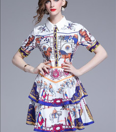 Print Street Style Australia - 2019 knight horse printed cake skirt short-sleeved dress street style dresses summer Flora printed above knee