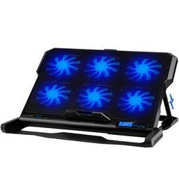 refrigerador almohadilla portátil de refrigeración con silencio de los ventiladores LED del puerto Holder ajustable para portátil 2 USB para MacBook Air / Pro 12 - 17.3 caliente en venta
