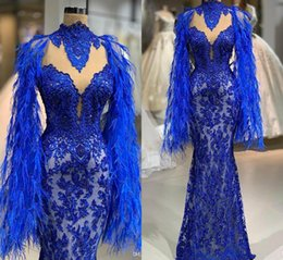 $enCountryForm.capitalKeyWord Australia - 2019 Royal Blue Prom Dress Lace Appliqued Pearls Feather Sparkly Mermaid Evening Gowns Party Wear Sexy African High Neck Pageant Dresses