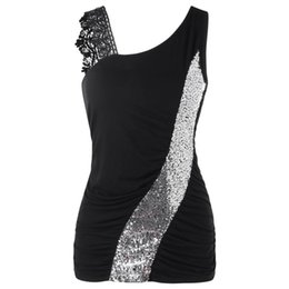 a550db4dd3a04 Womens tank top Fashion hot girl vest Lace shiny Glittering Skew Collar  Sequined Tank Tops Sleeveless Vest Cropped Feminino