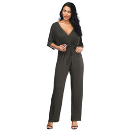 $enCountryForm.capitalKeyWord Australia - Women Sexy V Collar Loose Jumpsuit Short Sleeve Drawstring Pants Suits Solid Plus Size Long Rompers