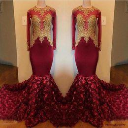 Black Flower Girl Dress Chiffon Australia - 2019 Luxury Burgundy Mermaid Prom Dress Long O-Neck Gold Appliques 3D Flowers Long Sleeve African Black Girl Party Graduation Dresses