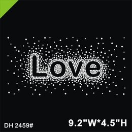 $enCountryForm.capitalKeyWord Australia - Free shipping Rhinestone Applique Hot Fix Motifs sliver color LOVE for T-shirt DIY stone factory direct sale customized design DIY DH2459#