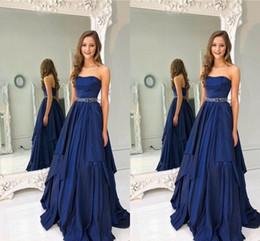 Purple Taffeta Sashes NZ - 2019 Navy Blue Empire Waist Prom Dresses Long Formal Dress Evening Layers Skirt Strapless Beaded Sash Dresses Evening Wear Party Gowns