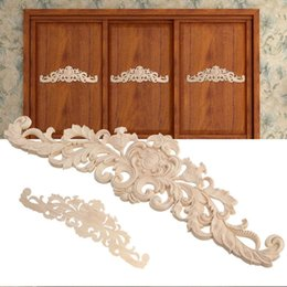 carving furniture Australia - 1Pair Wood Carved Corner Onlay Applique Frame Decor Furniture Craft Unpainted