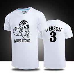 949a85493 summer T shirts Homme Allen Iverson t shirt men cotton Short-sleeve T-shirt  2018 New causal basketball sport jersey top Plus Size