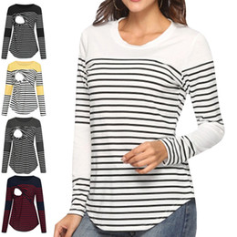 stripe clothes mom Australia - Nursing Tops Breastfeeding Mom Pregnant Nursing Baby Maternity Long Sleeved Stripe Top Blouse Clothes For Pregnant Women T-Shirt