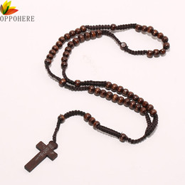 $enCountryForm.capitalKeyWord NZ - OPPOHERE Men Women Christ Wooden Beads 8mm Rosary Bead Cross Pendant Woven Rope Chain Necklace Jewelry Accessories