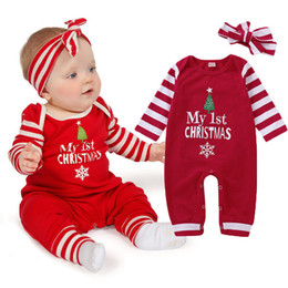 christmas clothes Australia - Christmas Baby Girls Romper Long Sleeve Striped Romper Red Cotton Warm Jumpsuit With Headband Girls New Years Outfit Clothes Set