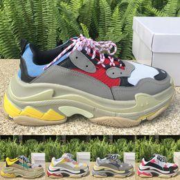 China Designer Triple S Platform Shoes Triple Black Mens Womens Luxury Outdoor Sneakers Trainers Split Black Grey Casual shoes Size 36-45 supplier blue platform sneakers suppliers