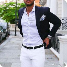 $enCountryForm.capitalKeyWord Australia - Dark Blue Men Suits Groom Wedding Tuxedos Notched Lapel Two Pieces Coat White Pants Custom Made Groomsmen Suit Blazer Slim Fit Costume Homme