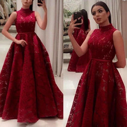 Chinese  Saudi Arabic Dubai Dark Red Prom Party Dresses 2019 High Neck A Line Lace Evening Gowns with Belt Women Pageant Red Carpet Gowns manufacturers