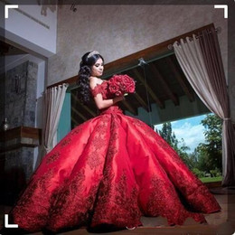 Satin cap for cheap online shopping - Cheap Ball Gown Red Quinceanera Dresses For Girls Satin Off Shoulder Appliques Long Sweet Prom Dress Formal Gowns