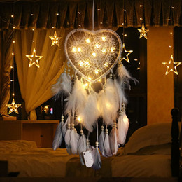 home wall lighting NZ - Handmade LED Light Heart Dream Catcher Feathers Glowing Home Ornament Wall Hanging Decoration Gift Wind Chime Craft