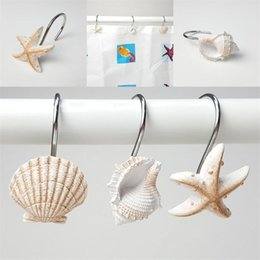 Chinese  White Brown Hanging Hooks Resin Bath Curtain Hook Starfish Conch Shell Modeling Bathing Room Articles EEA434 manufacturers