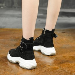 female boot sole Australia - Hot Sale- New British Punk Retro Short Upper Thick Sole ankle Boots Female Round Toe Leather flat Motorcycle Boots for women Zipper Shoes