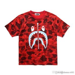 Zipper Teeth Australia - 19SS Japanese new men's T shirt shark mouth printed pure cotton fake zipper teeth printed camouflage short sleeve T shirt summer