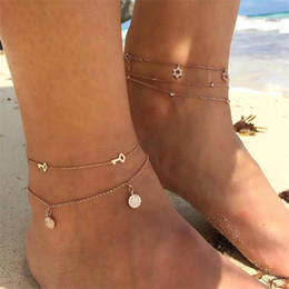 $enCountryForm.capitalKeyWord Australia - Beach Multi Layer Key Round Star Anklets Bracelets For Female Fashion Mosaic Zircon Gold Color Chain Anklets Girl Wedding Gifts