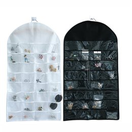 necklace storage pouches NZ - 32 Pockets Dual Sided Jewellery Storage Display Pouch Jewelry Hanging Organizer Earring Necklace Jewelry Display Holder