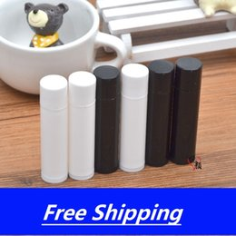 black lipstick free shipping NZ - 5g Empty lip balm tubes plastic lipstick tube,black,White DIY Cosmetic packing container Free shipping
