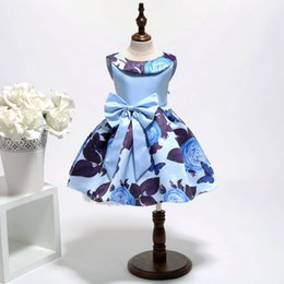 $enCountryForm.capitalKeyWord Australia - Floral Baby Kids Dresses Blue Sleeveless Scoop Neck Short Printed with Bow Girls Formal Dresses for Birthday Party Prom Wedding