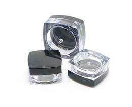 Art plAstic bottle cAps online shopping - 5Gram Plastic Jar Square Shape Clear Pot Black Cap Cosmetic Sample Eyeshadow Lip Balm Container Nail Art Piece Glitter Bottle SN2236