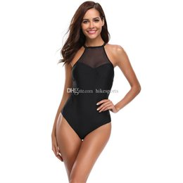 66fafd739a Black Mesh Sling Bikini Set Womens Sexy One Piece Swimsuit Low Back Push Up Swimming  Bathing Suit High Neck Swimwear Off Shoulder Beachwear