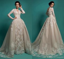 Plunge Wedding Dresses UK - Vintage Milla Nova Wedding Dresses Sexy Sheer Plunging Neckline Long Sleeves Backless Wedding Gowns With Detachable Train Lace Bridal Dress