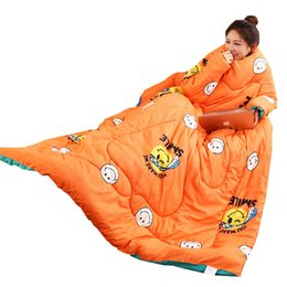 comforters covers 2019 - Winter Autumn Lazy Quilt with Sleeves Family Comforter Cape Cloak Nap Blanket Dormitory Mantle Covered Blanket Bed Quilt