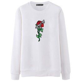 White Rose Pullover UK - Hot Sale 2018 Brand Autumn Spring Hip Hop Pullover Sweatshirts Men High Quality Hoodie Fashion Rose printing mens hoodies Tops