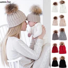 $enCountryForm.capitalKeyWord Australia - 2pcs Set Family Child Winter Knit Crochet Caps Fur Beanie Hat Mother Daughter Son Baby Boy Girl Toddler Skullies Cap 0-18 month