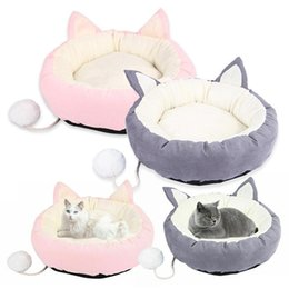 extra long bedding Canada - Pet Cat Bed Pet House Washable Soft Long Plush Cat Carpet Dog Bed for Round Kennels Cat Ear Pet Dog Bed Pink Gray High Quality