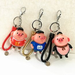 Character Flashlight Australia - Creative and cute pig eight ring prosperous pig car key buckle men and women bag hang a little gift girl birthday gift