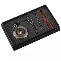 Black Hand Pendant Australia - Steampunk Hand Winding Mechanical Black Pocket Watch Fob Pendant Mens Womens Box Bag