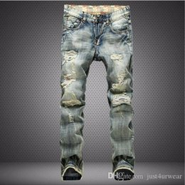 mens flag trousers UK - Mens Fashion Ripped Jeans Nostalgic Flag Denim Washed Long Trousers Pants Men Streetwear Biker Jeans Distressed Pants