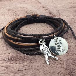 $enCountryForm.capitalKeyWord NZ - Multi Layer Male Leather Bracelet Zombie Crisis Black Brown Braided Rope Wrist Band Punk Gothic Bracelets Bangles Adjustable Men Jewelry