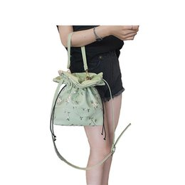 Ladies Lace Handbags Australia - good quality Women Leather Handbags Lace Embroidery Bucket Shoulder Bags Ladies Cross Body Bags Large Capacity Ladies Shopping Bag