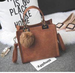 Discount crochet small hand bag - Manufacturer batch hair ball bag frosted fashion hand bill of lading shoulder bag simple small square bag retro single s