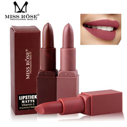 Discount brown nude lipsticks Miss Rose Professional Matte Lips Makeup Kiss proof lipstick Batom Pencil Brown Lip Stick Nude Red Velvet Lipsticks Cosm