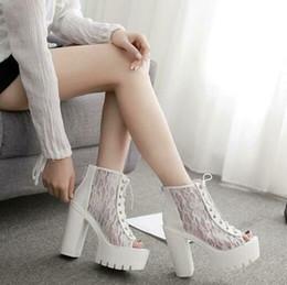 Black Blocks Australia - Womens Gothic Punk Lace Open Toe Ankle Boots High Block Heels Platform Breathable Roman Shoes Summer Black White 13CM A423