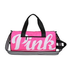 958be01dde06 pink yoga bags 2019 - Large Pink Letter Duffle Travel Bags Women Girls  Sports Gym Yoga