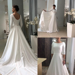 $enCountryForm.capitalKeyWord NZ - Vintage Satin Garden Wedding Dresses 2019 Bateau Boat Neck Long Sleeves Covered Button A Line Sweep Train Simple Bridal Gowns Robe De Maria