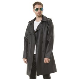$enCountryForm.capitalKeyWord UK - Men's PU Leather Long trench coat Adjustable Waist good quality handsome man England Style with Double Breasted thin coat for spring