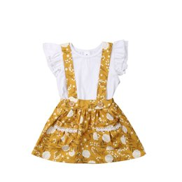 White Feather Neck Piece UK - Stylish Little Girls Fly Sleeve White Tees Yellow Floral Lace Belt Dreeses 2pieces Suits Girls Front Button Overall Dresses Outfits 1-6T