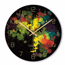 Discount school europe - Creative Nordic Abstract Colored Wall Clock Fashion Glass Clocks Home Office School Decorations Fun Gifts Dropshipping