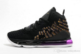 lebron basketball shoes size NZ - High Quality LeBron 17 Basketball Shoes Lakers Oreo Black White LeBron XVII Battleknit Designer Men Sports Sneaker With Box Size US4-12